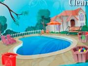 Уборка у бассейна